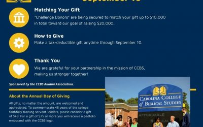Second Annual Day of Giving on September 10 for Carolina College of Biblical Studies